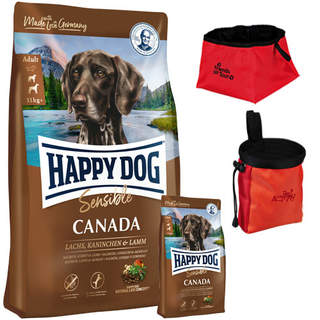 12,5 + 1 kg Happy Dog Supreme Sensible Canada + Trixie Faltnapf, rot + Trixie Bag Dog Activity