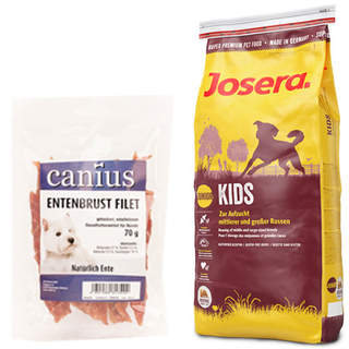 15 kg Josera Kids + 70 g Canius Entenbrust Filet