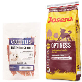 15 kg Josera Optiness + 70 g Canius Entenbrust Filet