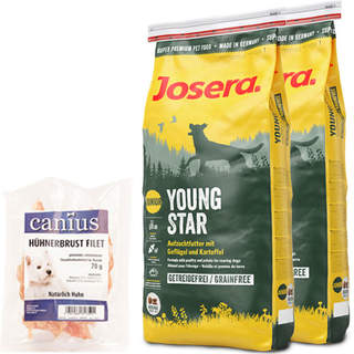 2 x 15 kg Josera YoungStar + 70 g Canius Hühnerbrust Filet