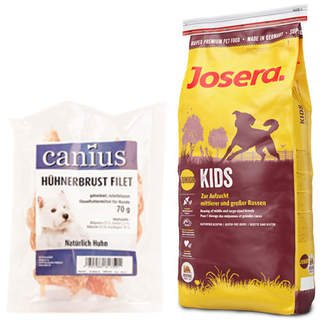15 kg Josera Kids + 70 g Canius Hühnerbrust Filet