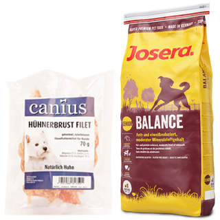 15 kg Josera Balance + 70 g Canius Hühnerbrust Filet