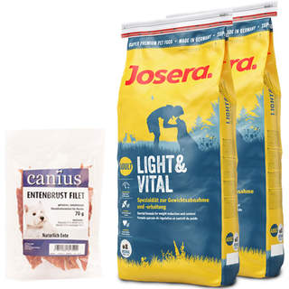 2 x 15 kg Josera Light & Vital + 70 g Canius Entenbrust Filet