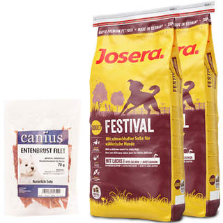 2 x 15 kg Josera Festival + 70 g Canius Entenbrust Filet