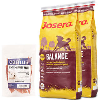 2 x 15 kg Josera Balance + 70 g Canius Entenbrust Filet