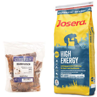 15 kg Josera High Energy + 200 g Canius Dörrfleisch