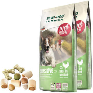 2 x 12,5 kg Bewi Dog Sensitive GF + 400 g Canius Knabbergebäck