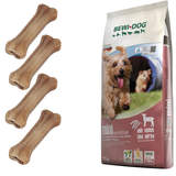 12,5 kg Bewi Dog Mini Sensitive + 4 Kauknochen