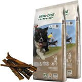 2 x 12,5 kg Bewi Dog Lamb & Rice + 250 g Canius Pansen