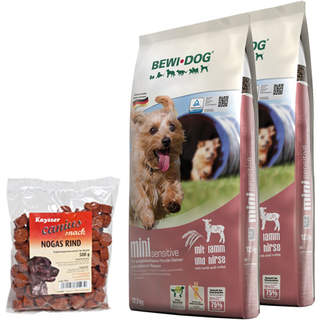 2 x 12,5 kg Bewi Dog Mini Sensitive + 500 g Canius Nogas Rind